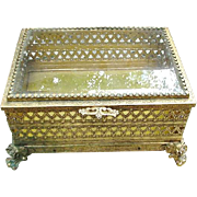 Florentine Jewelry Box with Pierced, Gold-tone Sides, Glass Lid
