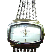 Vintage Anne Klein Silver-Tone Watch, Diamond Accented, MOP Face, Gold-Tone Hour Markers & Hands