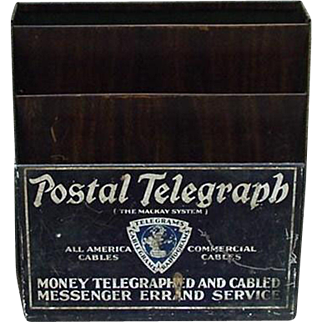 Metal Postal Telegraph Holder Display, Early 1900s
