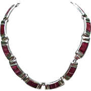 Vintage Sterling .925 Necklace, Mexico, Red Agate Inserts