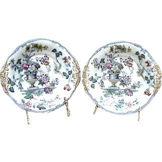Pair of Etruscan Ironstone Plates, England, W & B