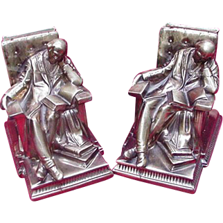 Vintage Brass Bookends by PM Craftsman, Reader Dozing in Chair