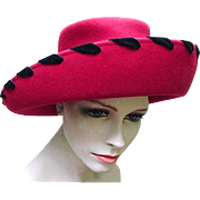 Beautiful Red Wool Hat with Black Velvet Ribbon Trim