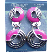 Trifari Comfort Clip Dangle Earrings, Go Go Mid-Century Design