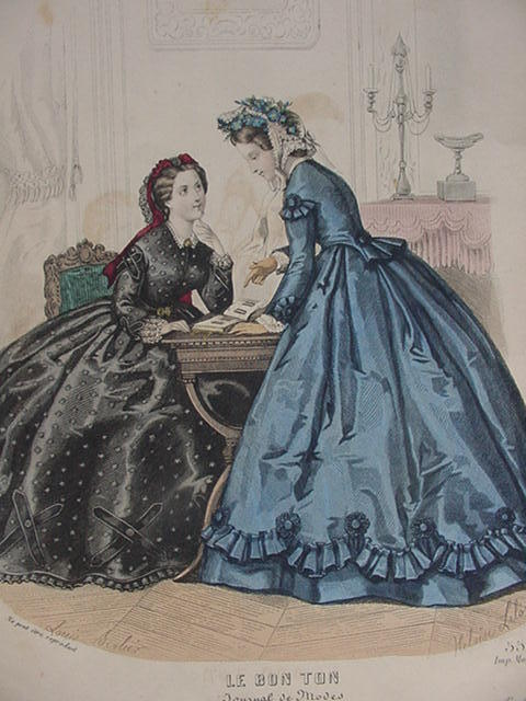 Le Bon Ton Fashion Print, 19th C. Tear Sheet from the Paris Fashion Journal