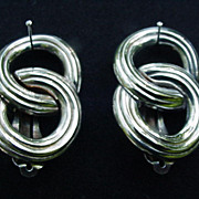 Vintage Givenchy Silver Tone  Metal Clips, Interlocking Circles
