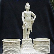 Creamware Desk or Table Accessory w Reticulated Containers, Central Figure of Greco/Roman Soldier