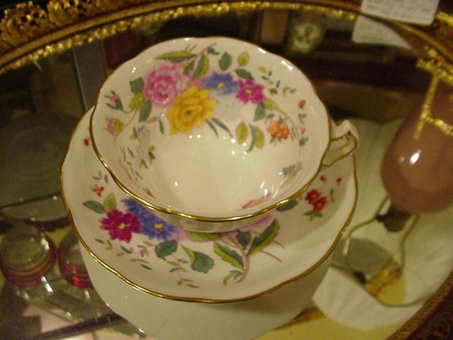 "George Jones & Sons Crescent China ""Garden Club"" Cup & Saucer, Bone China, England"