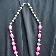 Vintage Hot Pink and Silvertone Beaded Necklace