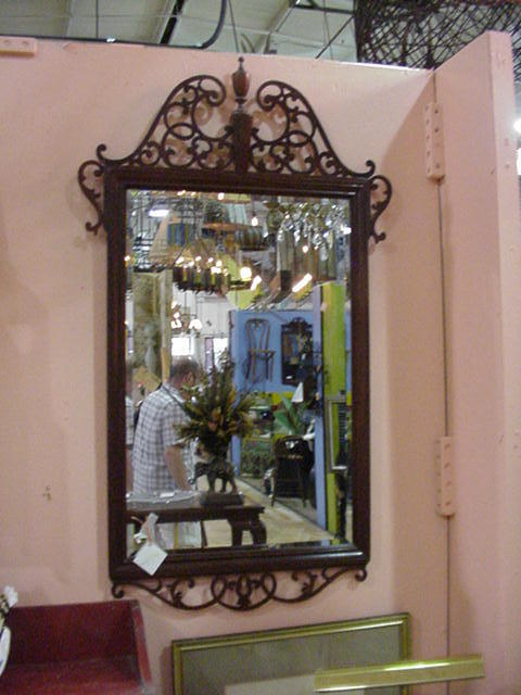 Ornate Vintage Chippendale Style Mirror with Beveled Glass