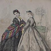 19th C. Fashion Print from Paris Fashion Journal Le Bon Ton