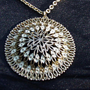 Vintage Goldtone Necklace with Enameled Medallion