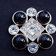 Vintage Monet Goldtone Pin, Rhinestones, Black Cab Beads
