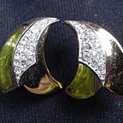 Vintage Trifari Goldtone & Rhinestone Clip Earrings