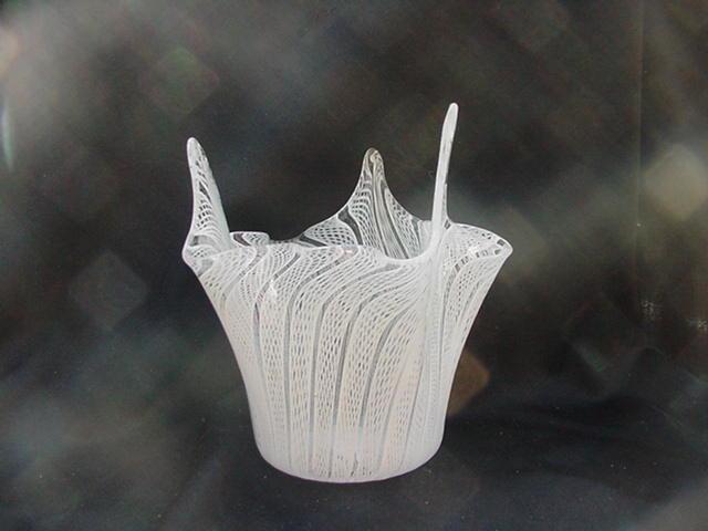 Latticino Glass Handkerchief Vase, White and Clear