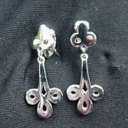 Vintage Givenchy Silvertone Metal Dangle Clip Earrings, 1978