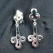 Vintage Givenchy Silvertone Metal Dangle Clip Earrings, 1978