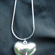 Vintage Puffy Silverplated Heart Pendant on Silvertone Chain