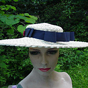 Big Vintage, Straw Picture Hat w Blue Accent Ribbon, Bows, and Buttons