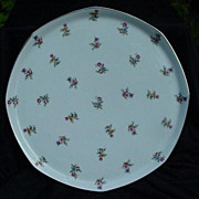 Limoges, France  Porcelain Platter, Gold Accented Rim, Tiny Flowers
