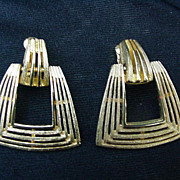 Vintage Brushed & Polished Goldtone Clips, Geometric Dangles