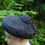 Sassy Summer Straw Cocktail Hat  with a Beribboned  Dollop on Top, Navy