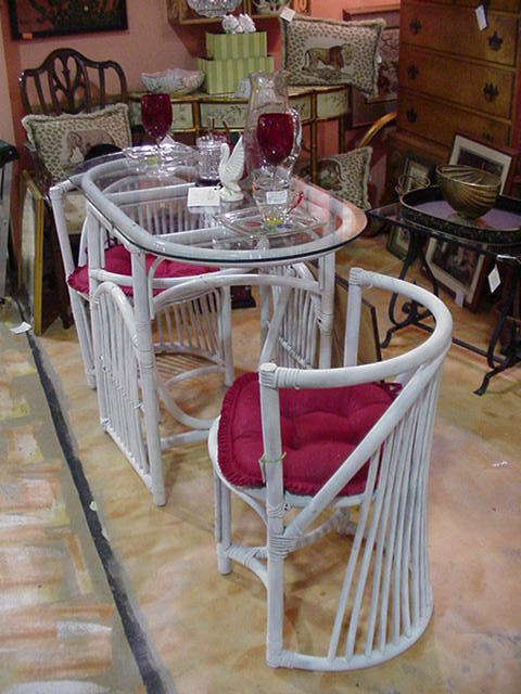 Three Piece Vintage Rattan Patio Set Painted White From