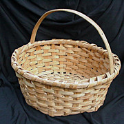 Primitive Split Oak Basket, Round with Arched Handle, Hand-Made