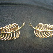 Vintage Roget Goldtone Screw Back Clip Earrings, Leaf Shape