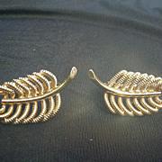 Vintage Roget Goldtone Screw Back Clip Earrings, Leaf Shape