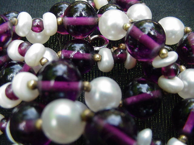 Vintage Necklace, Amethyst-Colored Beads Alternating with Simulated Pearl Beads
