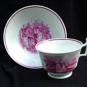 19th Century Pink Luster Cup and Saucer , Three Transfer Scenes