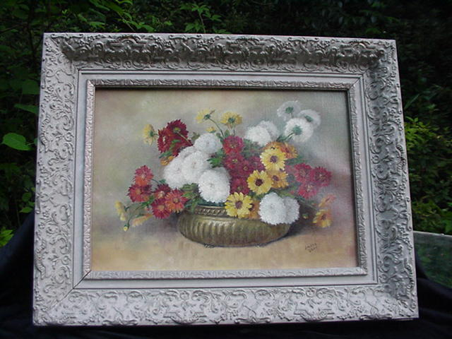 Vintage Oil, 20th C. Florida Artist, Amelia Darr, Floral Still Life