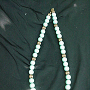 Vintage Carolyn Tanner Blue Beads w Goldtone Accents