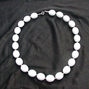 Vintage White Opaque Beaded Necklace w Goldtone Spacers