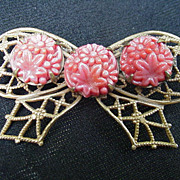 Vintage Goldtone Bow Pin w Carved Coral Flowers
