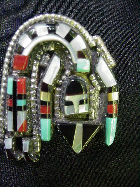 Sterling Silver .925 Rainbow Man Kachina Pin, Pendant, Mexico