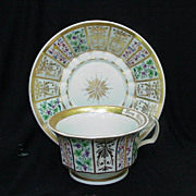 19th C. KPM Cup and Saucer, Fruit & Floral Panels, Gold Accents