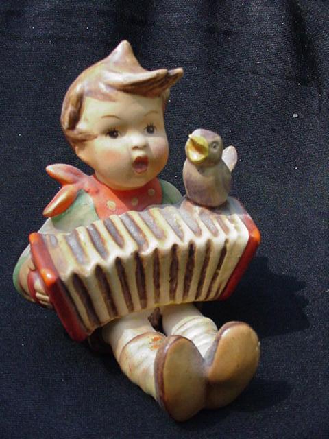 Hummel Figurine, Boy Playing Accordion, Blue Bird