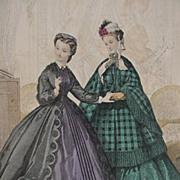 19th C. Paris Fashion Print from Le Bon Ton Journal du Modes, Original Page