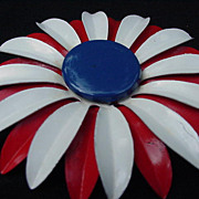 Red, White and Blue Flower Power Vintage Pin