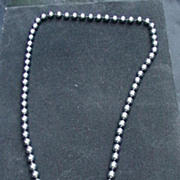 Elegant , Vintage,  Dark Gray Faux Pearl Necklace, Hand Knotted, Opera Length