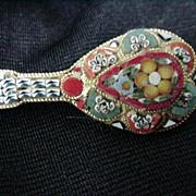 Vintage Italian Micro-Mosaic Pin, Goldtone Frame, Mandolin