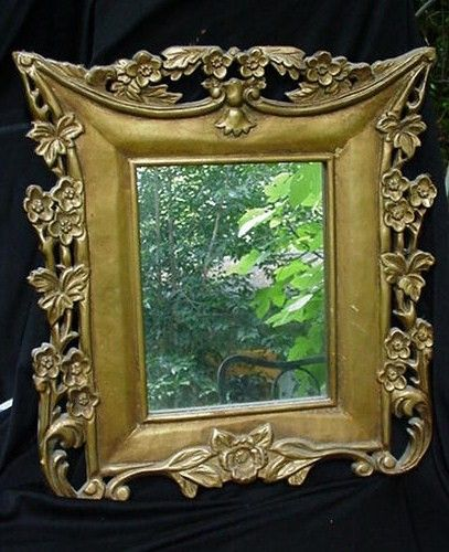 Art Nouveau Gilt Decorated, Carved Mirror, Rectangular with Floral Swags