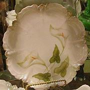 4 German Porcelain Calla Lily Cake Plates, Lustrous Glaze, Green, White