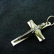 Vintage Goldtone Cross Pendant w Single Clear Rhinestone in Center