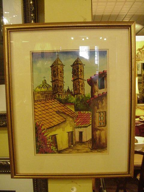 Watercolor Central American Village Scene, 1960s