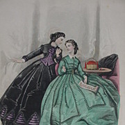 Le Bon Ton Fashion Print from 19th C. Paris Journal, Green and Black Costumes