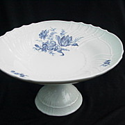 Richard Ginori, Italy, Pedestal Compote, Blue Floral Design on White Porcelain