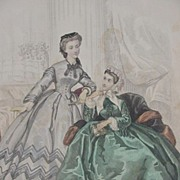 19th C. Fashion Print from Le Bon Ton Journal, Paris